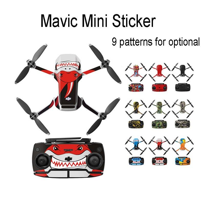 Película protetora adesiva para mavic mini, película de pvc para controle remoto, conjunto de adesivos de cobertura completa para dji mini drone, acessórios para drone