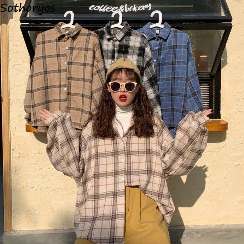 Blouse Women Shirts Turn-down Collar Batwing Sleeve Retro Plaid Womens Loose 3XL Spring All-match Casual Fashion 4 Colors Chic