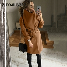 ZHYMIHRET Elegant Big Stand Collar Wool Blends Women Sashes