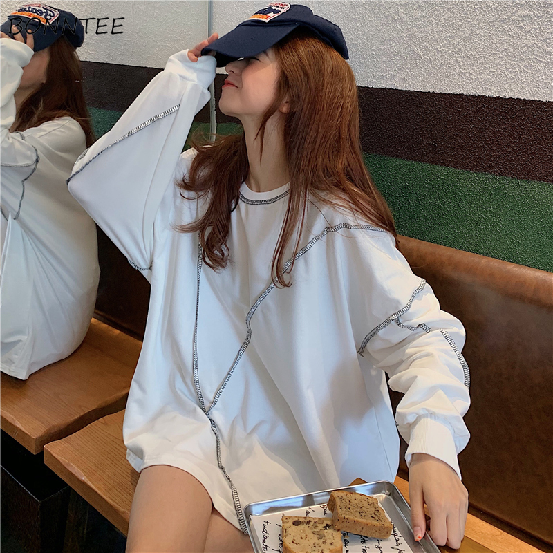 Hoodies Women Ulzzang High Quality Soft Long Sleeve Female Large Spring Autumn Thin Student Loose Womens Sweatshirts Chic Casual