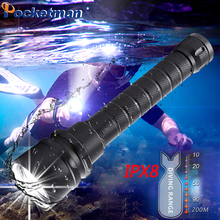 11000lumens Professional Powerful led Waterproof Scuba Diving Flashlight Diver Light LED Underwater Torch Lamp Lanterna z52 цена в Москве и Питере