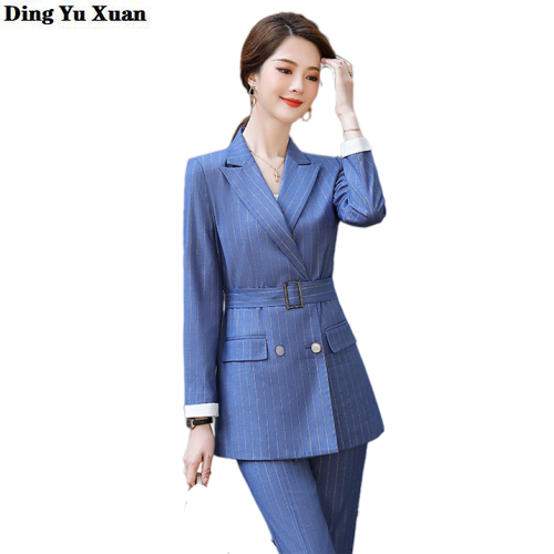 Blazer and Pant Office Two Piece Set Women Long Sleeve Double Breasted Jacket & Pencil Pant Fashion Striped Female Trouser Suits