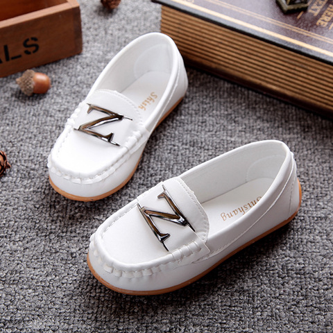 12 Colors All Sizes 21-36 Children Shoes PU Leather Casual Styles Boys Girls Shoes Soft Comfortable Loafers Slip On Kids Shoes