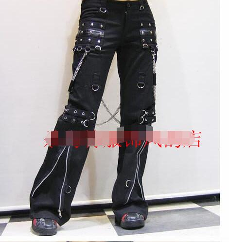 2021 new trousers European and American trend punk goth horn men's casual rivet wide-leg pants singer trousers