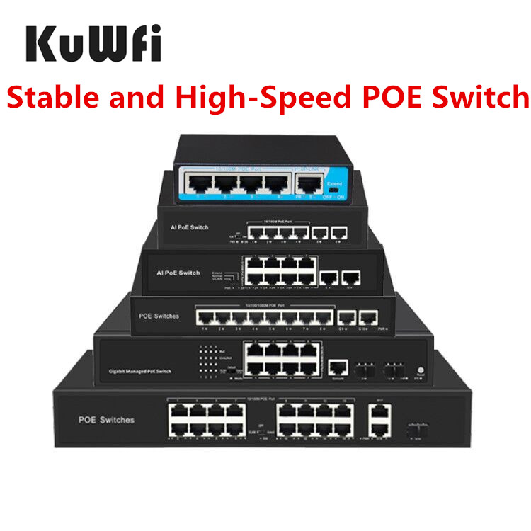 KuWFi POE Switch Gigabit IEEE 802.3 af/at Ethernet Switch 4Port/8Port/16Port Standardized RJ45 for IP Camera Extend VLAN 250M
