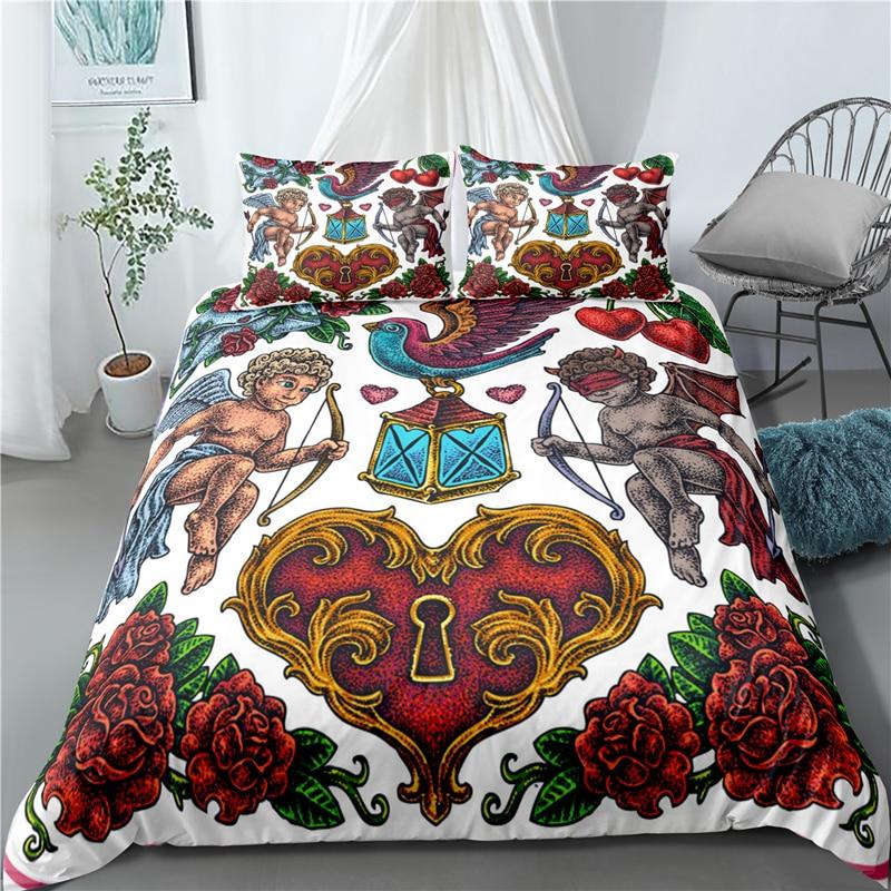 Oldschool Style Hip Hop Bedding Set Duvet Covers Pillowcases Classic Rap Comforter Bedding Sets Bedclothes Bed Linen(No Sheet)