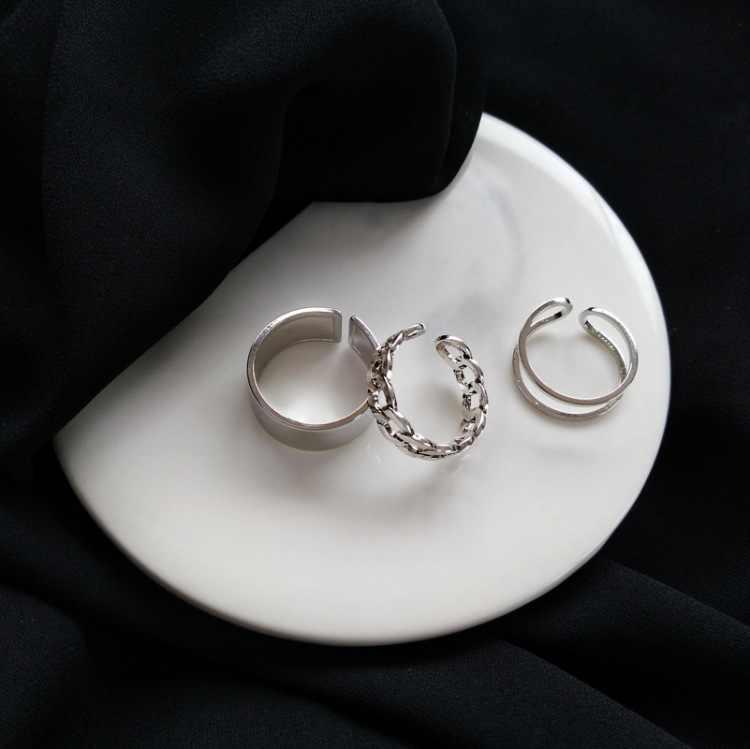 2020 moda simples design anillos cor prata do vintage conjuntos de anéis conjuntos para jóias femininas versão coreana anéis comuns