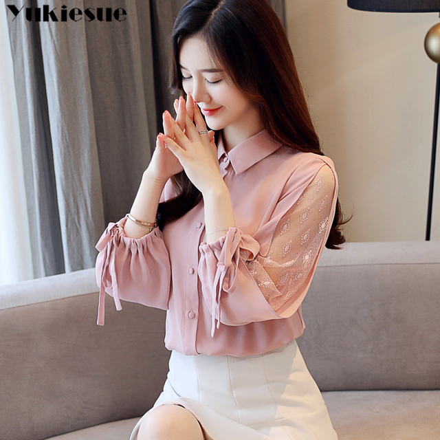 Women 2021 Spring New Long Sleeve lace patchwork Chiffon Blouses Female Fashion V-neck Solid Shirts Ladies Loose Casual Tops 1