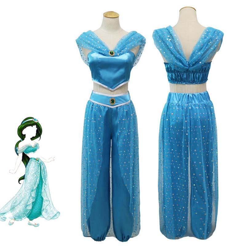 Aladdin Jasmine Cosplay Costume Adult Women Girls Halloween Party Dress Jasmine Costume Sets Kids Jasmine Princess Fancy Costume