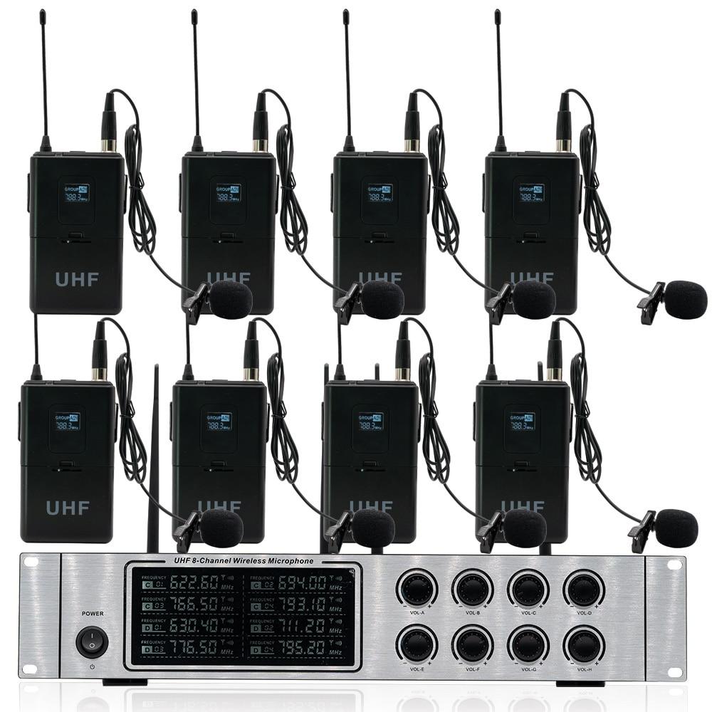 Wireless mikrofon system professional UHF kanal dynamische mikrofon 8 kanal bühne leistung lavalier mikrofon