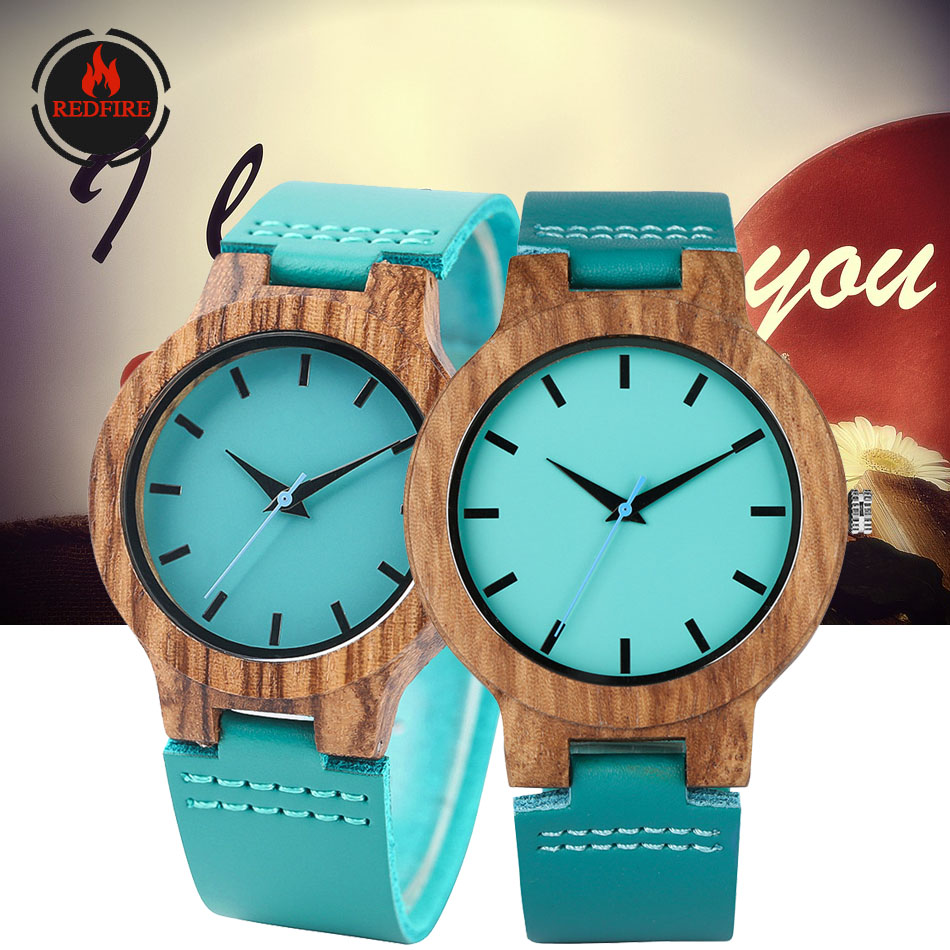 REDFIRE Couple Watch Brown Wood Watches Quartz Movement Wooden Clock Creative Blue Dial Genuine Leather Timepiece Valentine Gift