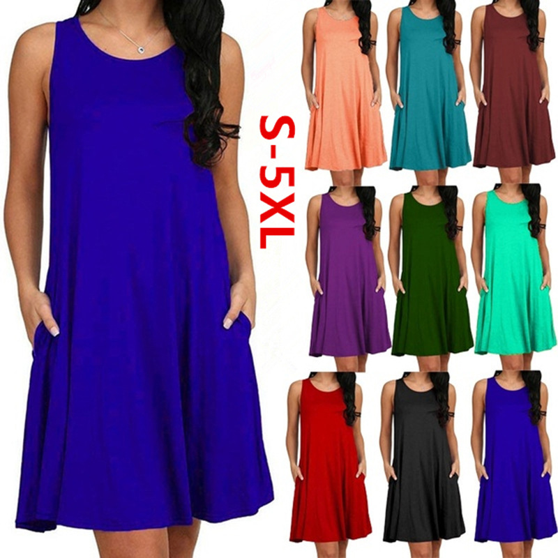 <font><b>Women</b></font> Casual Summer <font><b>Dress</b></font> <font><b>Plus</b></font> <font><b>Size</b></font> O-neck Tank Top Loose Clothing Side Pocket Fashion <font><b>Sexy</b></font> Ladies Solid Sleeveless <font><b>Dresses</b></font> 5XL image