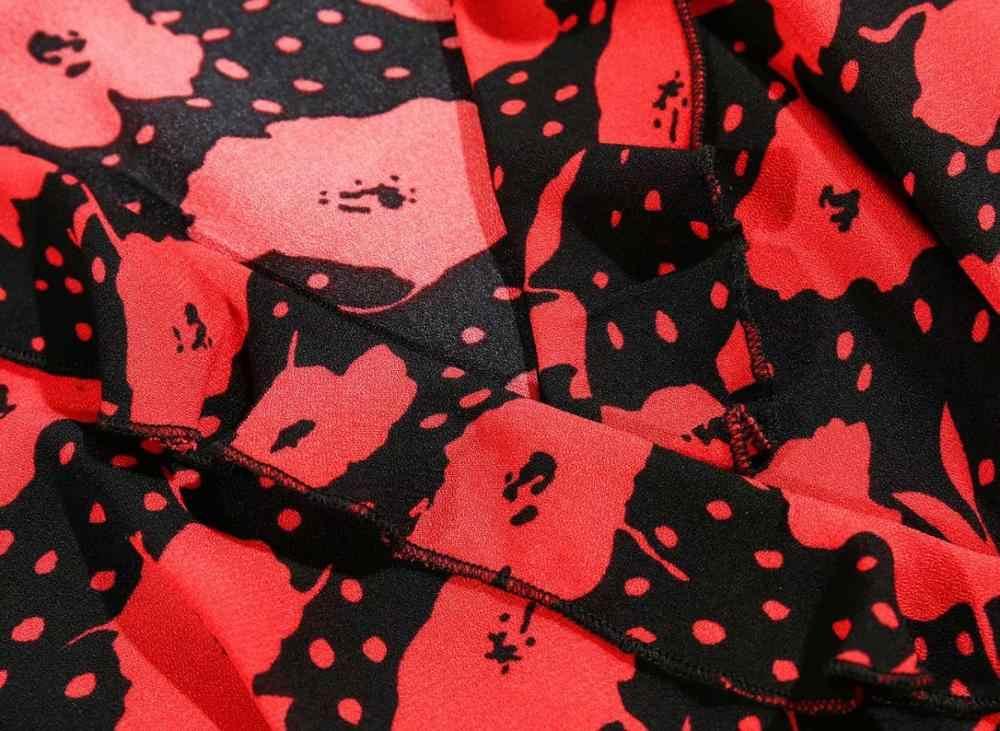 Bazaleas, vestido midi elegante con estampado Floral rojo para mujer, vestidos de dos botones laterales, vestidos de verano con cuello en V a la moda para mujer