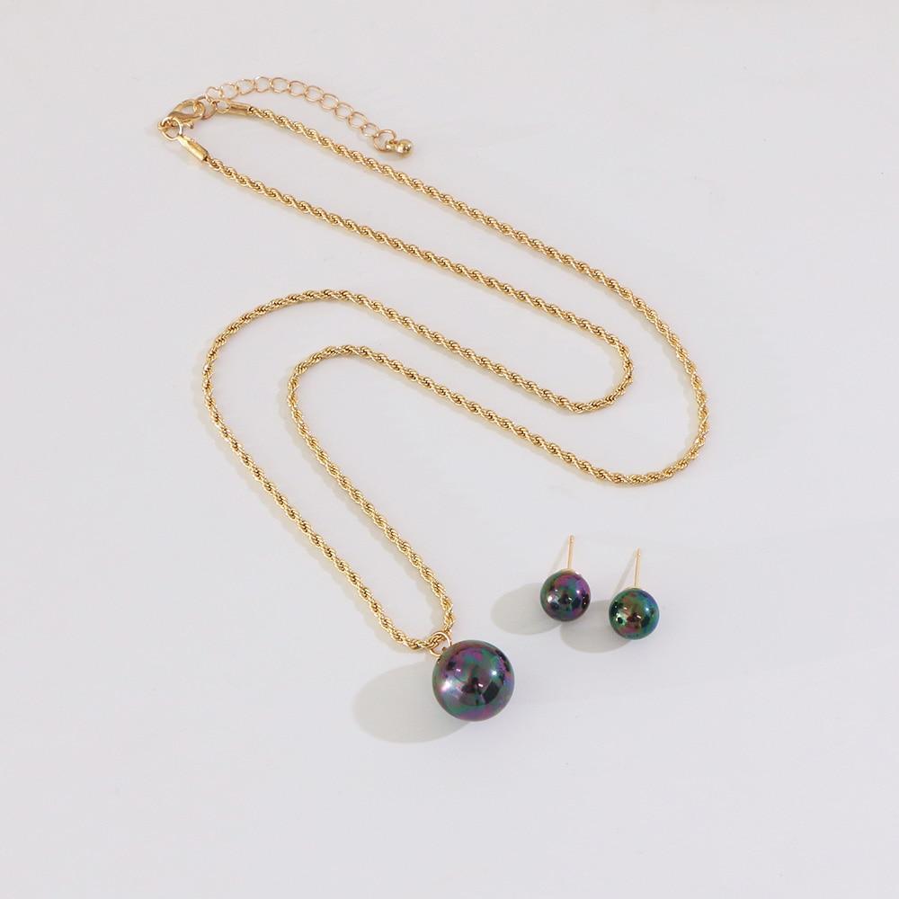 Say Hello Polynesian Hawaiian Samoa Style Vintage Shiny Pearls Pendant Necklace Stud Earrings Man Woman Jewelry Set K6524