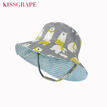 Reversible Baby Boys Cotton Panama Hats 2019 Autumn Kids Outdoor Sports Tour Beach Sun Cap Big Brim Children Cartoon Bucket Hat(China)