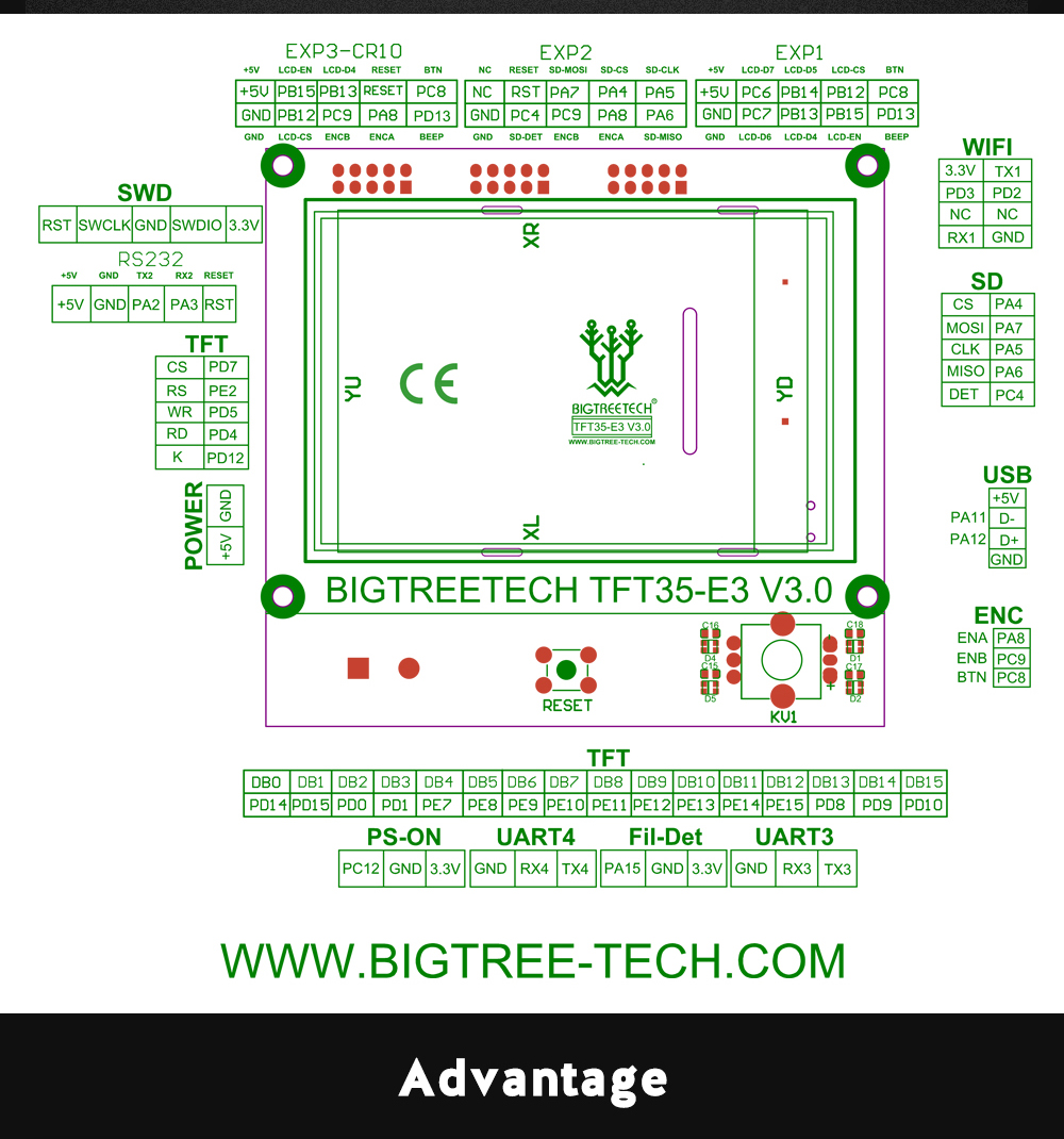 BIGTREETECH TFT35 E3 Touch Screen LCD Display as 3D Printer Parts