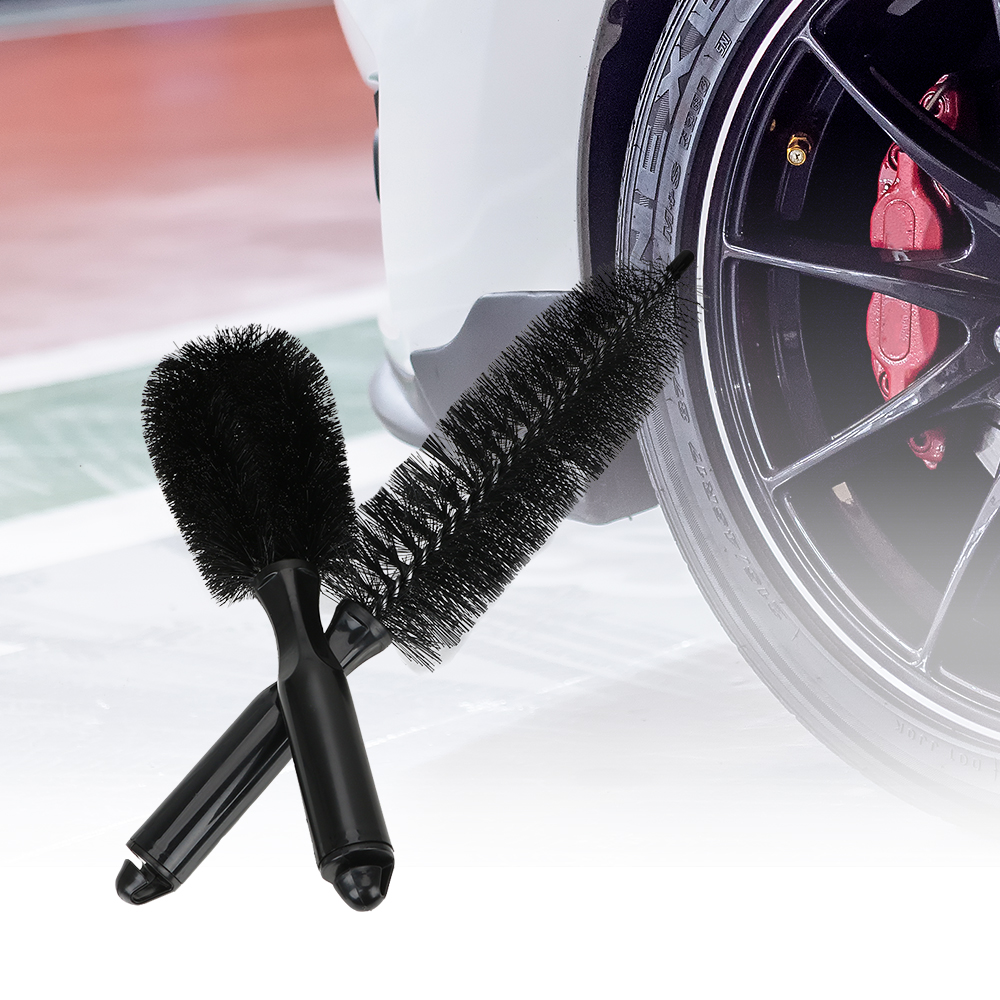 LEEPEE Car Washing Nylon Car Tire Rim Brush  Auto Care Car Rim Wheel Brush Cleaning Tool  Plastic Handle