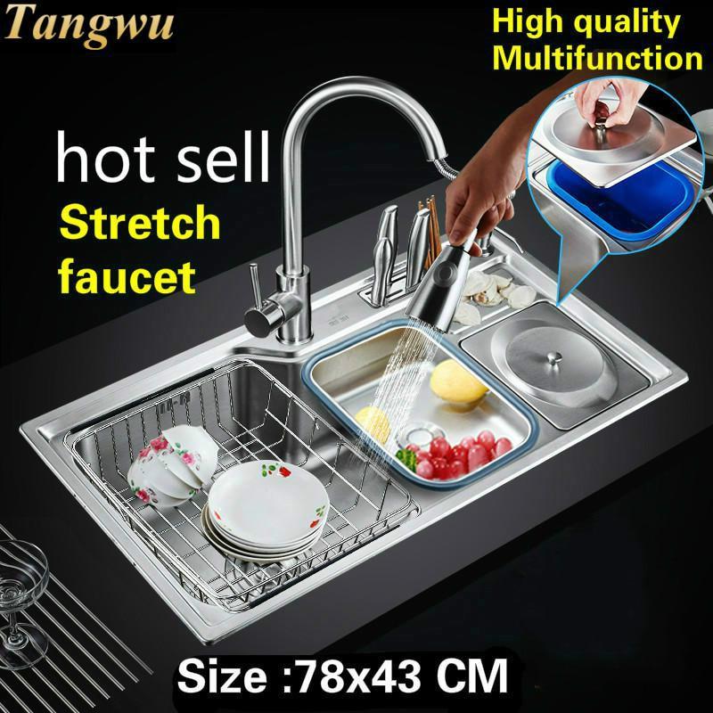 Livraison gratuite appartement luxe cuisine simple auge évier standard extensible robinet lavage légumes 304 acier inoxydable 78x43 CM