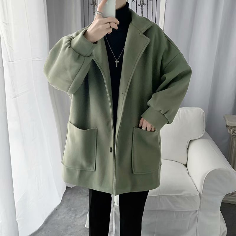 Middle Long Coat Men's Winter Thick Woolen Cloth Trench Coat Students INS Hong Kong Style Korean-style Trend Couples Woolen Coat