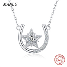 MANBU New Arrival 925 Sterling Silver chain Necklace U shape star for Women fashion jewelry