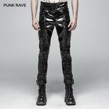 PUNK RAVE Men Punk Rock Glossy Patent-Leather Black Trousers Fashion Motorcycle Steampunk Gothic Performance Men Pants