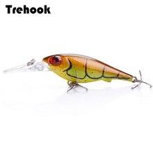 TREHOOK 5,4 cm 4g Schwimm Wobbler Schwarz Minnow Angeln Locken Crankbait Künstliche Lockt Harten Köder Angeln Produkte Lockt