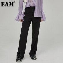 [EAM] גבוהה מותן מכנסיים החדש Loose Fit כפתור פיצול טמפרמנט מכנסיים נשים אופנה גאות כל התאמה אביב סתיו 2019 JZ421