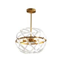 Bola design ouro iluminação lustre de cristal ac110v 220v led lâmpada pendurada para sala estar e quarto