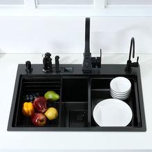 Preto único pia da cozinha com suporte de faca bacia de lavagem vegetal com placa de corte pia de aço inoxidável preto