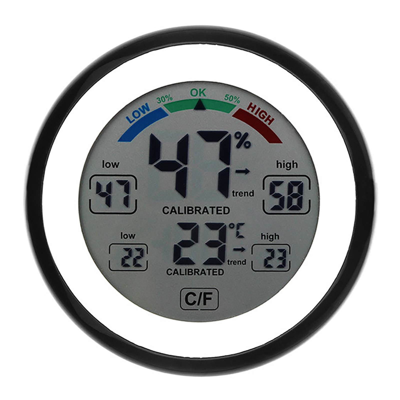 3305F Thermometer Hygrometer Round Touch Screen Reptile Pet Luminous Pointer Greenhouse Embedded In Digital Sauna Room FY-13