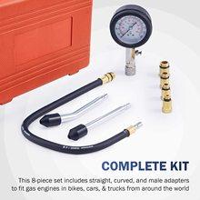 8pcs Petrol Engine Cylinder Compression Tester Kit Automotive Tool Gauge pressure gauge 9pcs Petrol Gas Engine Cylinder Compress