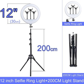 Gift 6 10 12 Inch Dimmable LED Selfie Ring Light with Stand without tripod 160cm Lamp Photography Ringlight Phone Studio Desktop 1