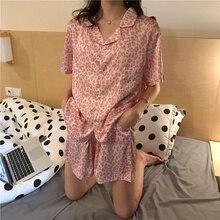 QWEEK Satin Pajamas Leopard Print Home Clothes for Women Pijama Mujer Silk Pyjama Loose