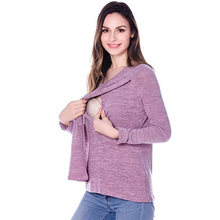 Maternity Tee Autumn Winter Pregnant Woman Clothing  Maternity Fleece Long Sleeve Comfy Layered Nursing Top For Breastfeeding layered trumpet sleeve botanical top