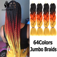 Hair-Braid Synthetic-Hair Afro Pink Yellow 24inch Alororo Red Ombre Purple