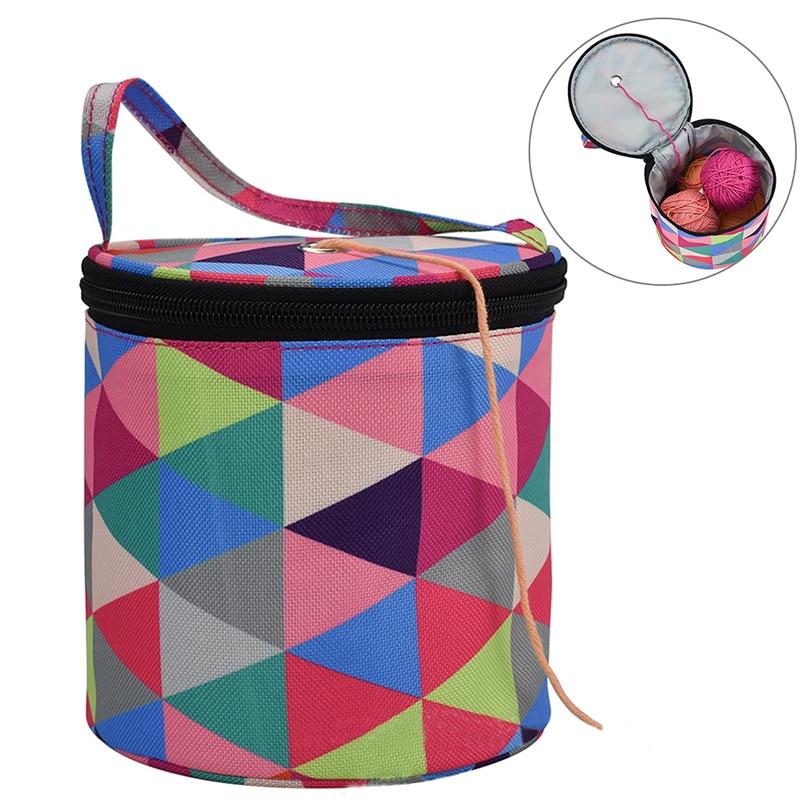 Новая круглая сумка для вязания, домашняя Повседневная сумка для хранения, шерстяная пряжа, вязаная крючком сумка для шитья, инструмент для ...