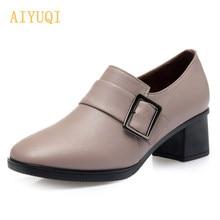 AIYUQI – chaussures en cuir véritable pour femmes, à la mode, à talon moyen, de grande taille 42 43, pour le travail et le bureau, simples, nouvelle collection 2021
