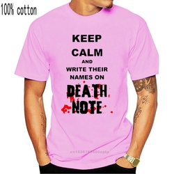 Keep Calm and Write Their Names on Deathnote inspired Printed Men T-Shirt   Cartoon t shirt men Unisex New Fashion tshirt