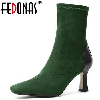 FEDONAS Quality Genuine Leather Female Stretch Boots Elegant Big Size Chelsea Boots Warm Women New Ankle Boots Strange Heels