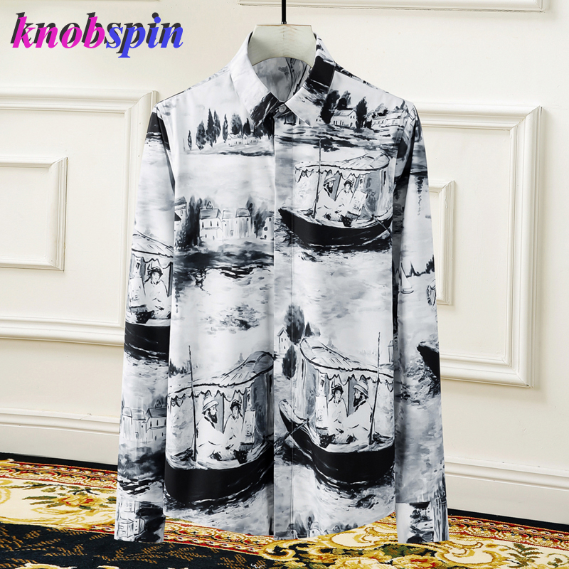 Brand Printed Shirt Men Long Sleeve Slim Casual Chemise Homme High Quality Business Male Cotton Shirts Plus Size M-4XL Camisas