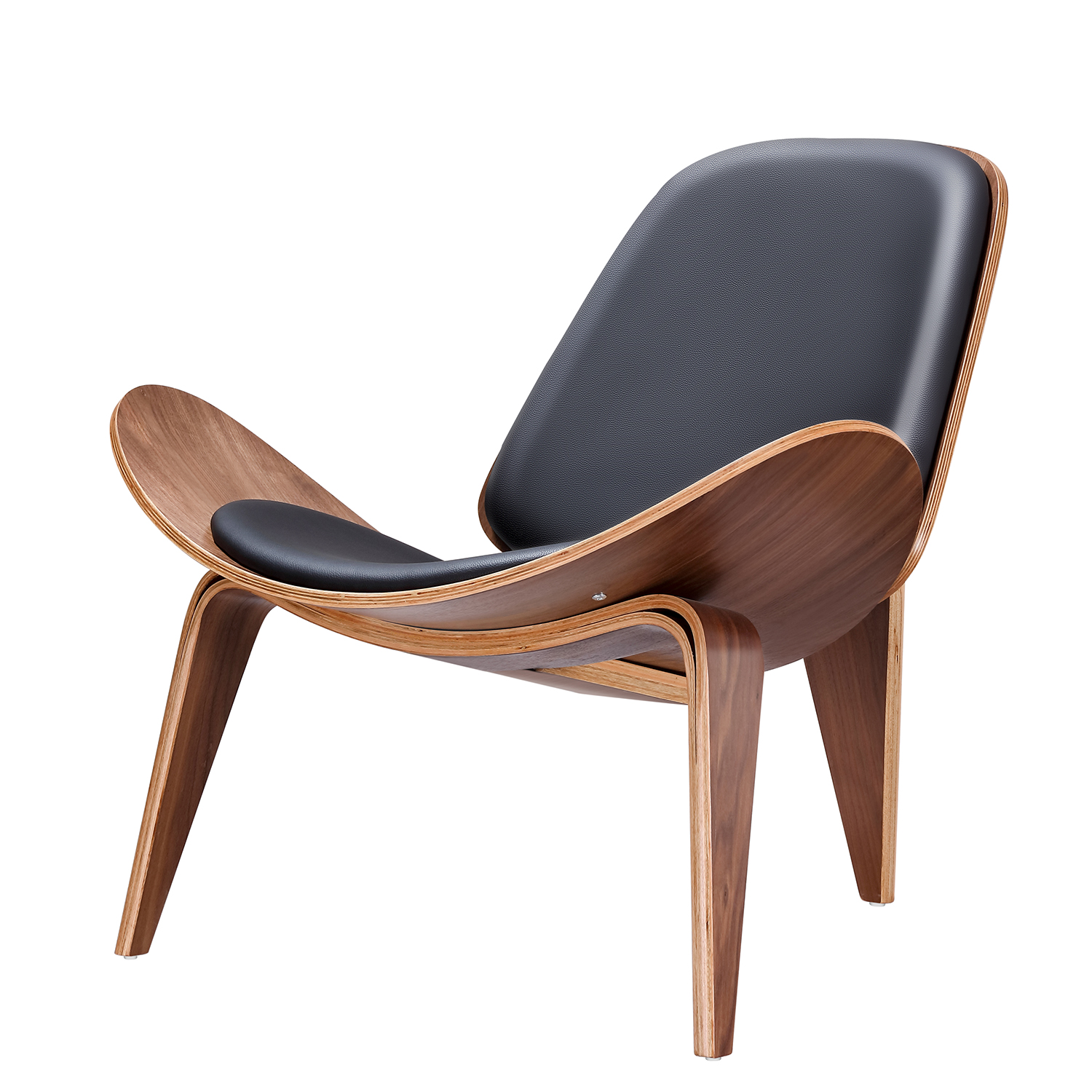 Mid Century Lounge Chair Replica Shell Chair Modern Tripod Plywood Lounge Chair 3 Wood Colors with Black Leather Chairs