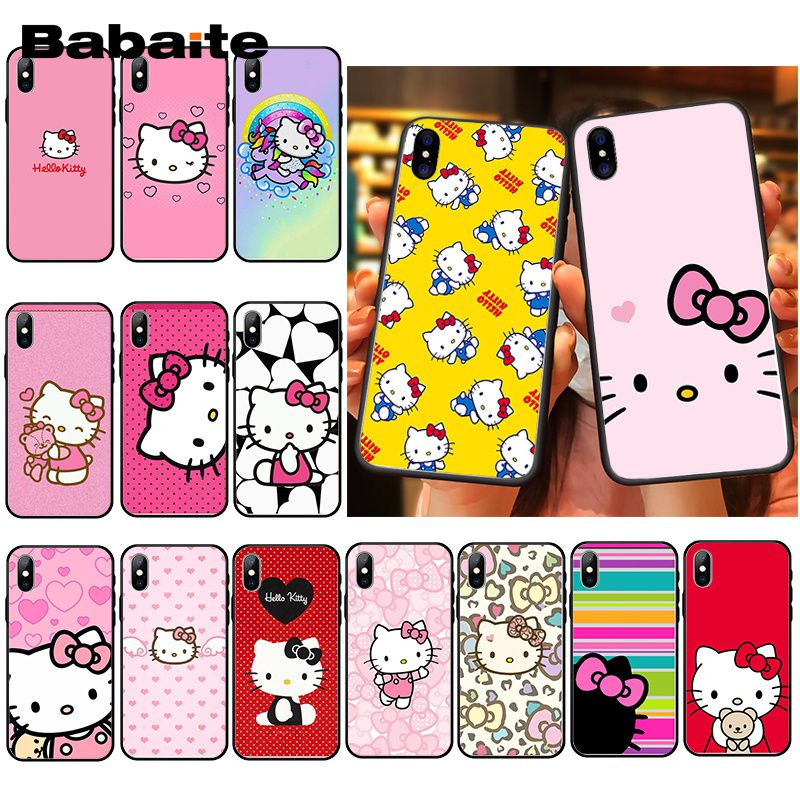 Babaite милый чехол для телефона Kawaii Hello Kitty для iPhone XR 11 Pro MaxXS MAX 8 7 6 6S Plus X 5 5S SE|Чехлы-накладки|   | АлиЭкспресс