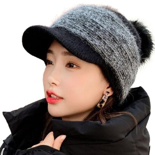 Women Winter Thick Warm Fuzzy Knit Beanie Cap with Visor Pompom Baseball Cap X7YA 2