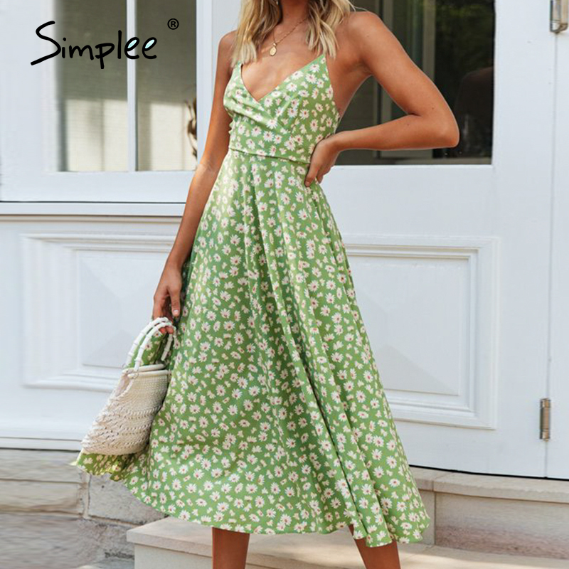 Simplee Sexy Sleeveless Women Dress Boho Floral Print Summer Beach Dress Ladies A-line Backless Holiday Casual Party Dress 2020