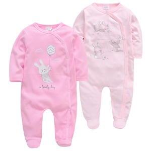Kavkas Baby-Girl Rompers Full-Sleeve Overalls Cotton Cartoon 2pcs/Lot Print