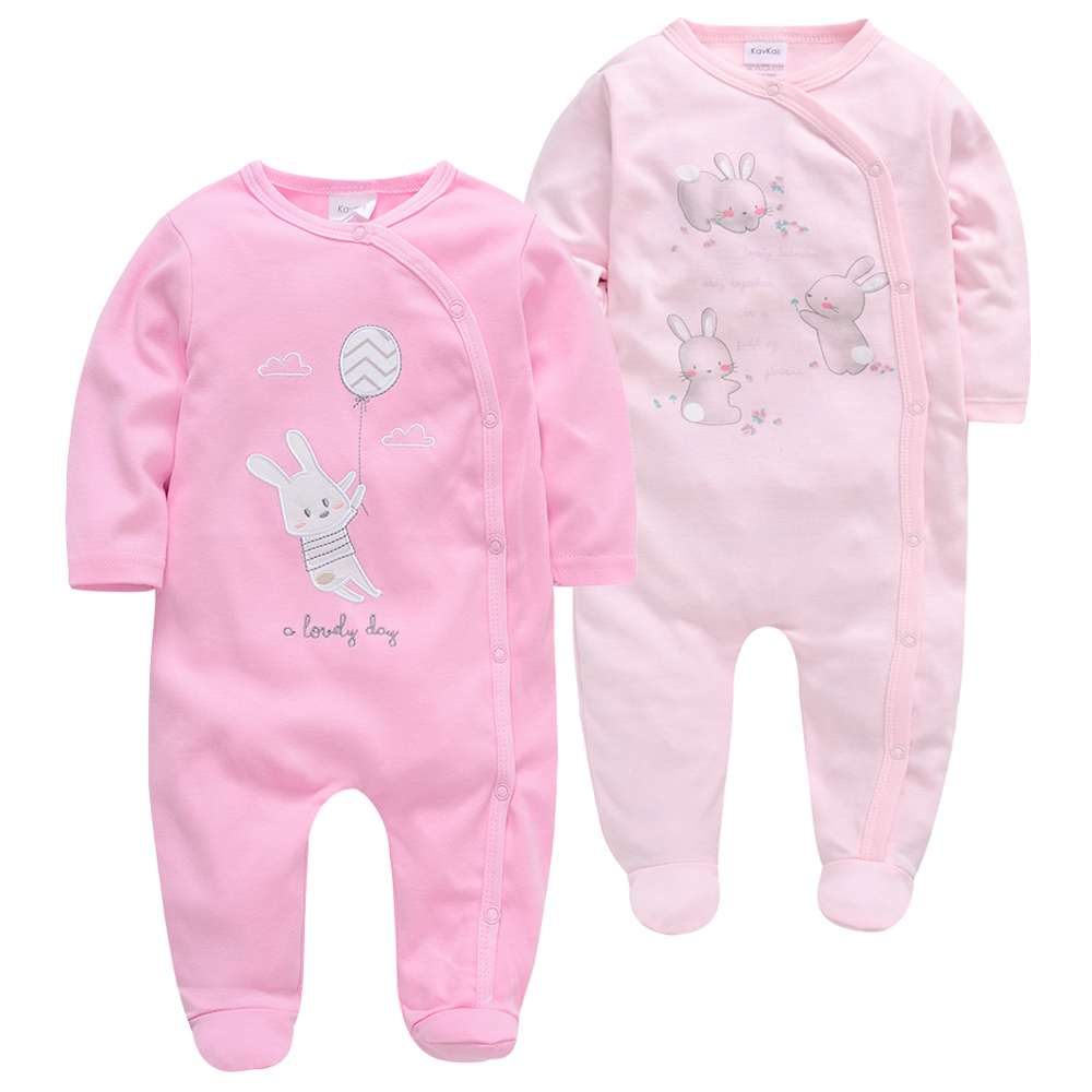 2pcs/lot Baby Rompers Kavkas Baby Girl Clothes Full Sleeve 100%Cotton Cartoon Print Overalls