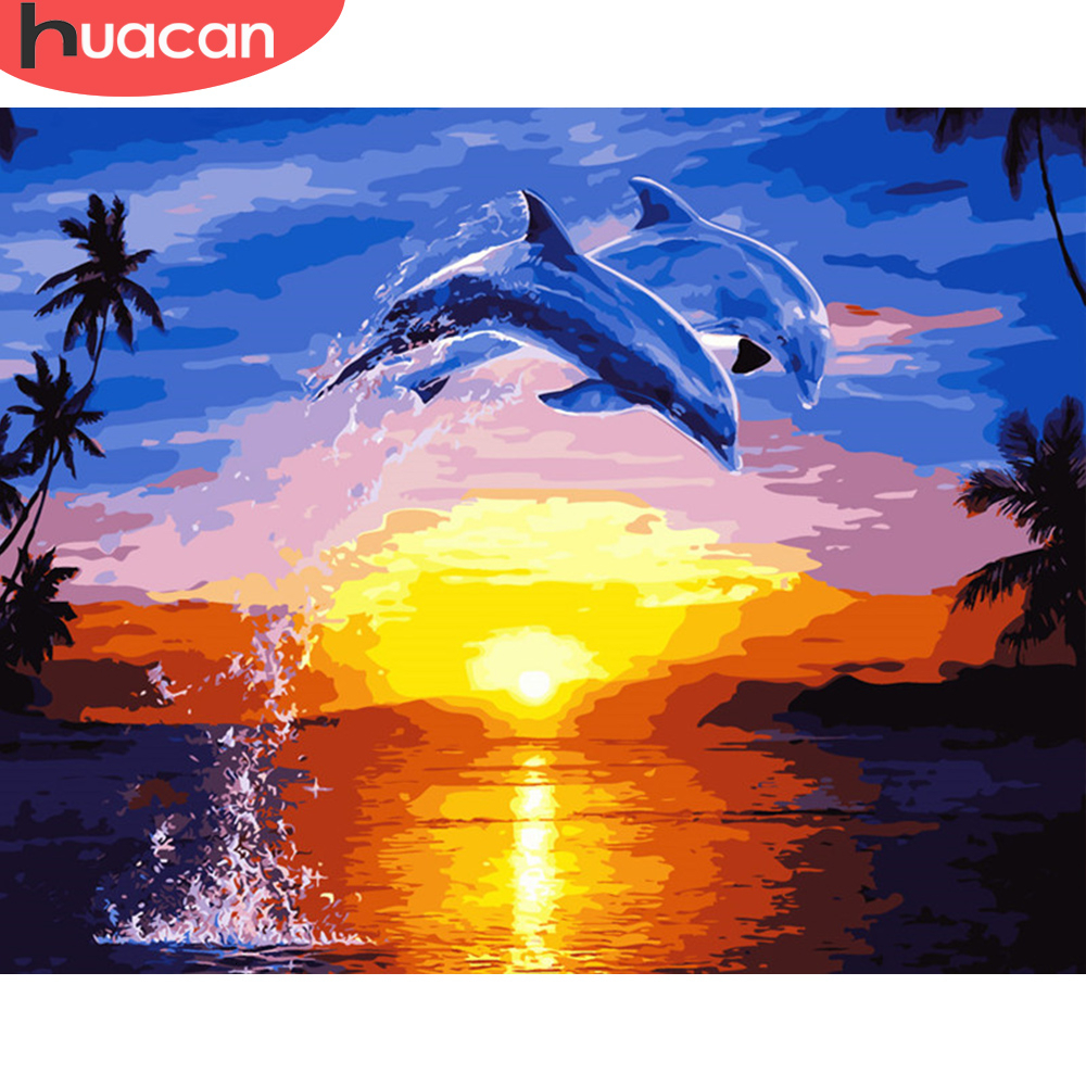 HUACAN Picture By Numbers Animal Kits Drawing Canvas HandPainted Painting Dolphin DIY Art Home Decoration Gift