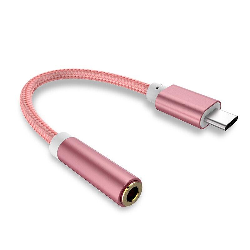 Кабель-преобразователь для наушников с переплетением типа C на разъем 3,5 мм, AUX аудио кабель, USB Type C на 3,5, адаптер для наушников для HTC, huawei, Android