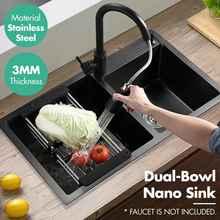 3mm çift mutfak evyesi paslanmaz çelik ev sayaç havzası drenaj sepeti bulaşık yıkama tankı 720x400x220mm mutfak armatürü