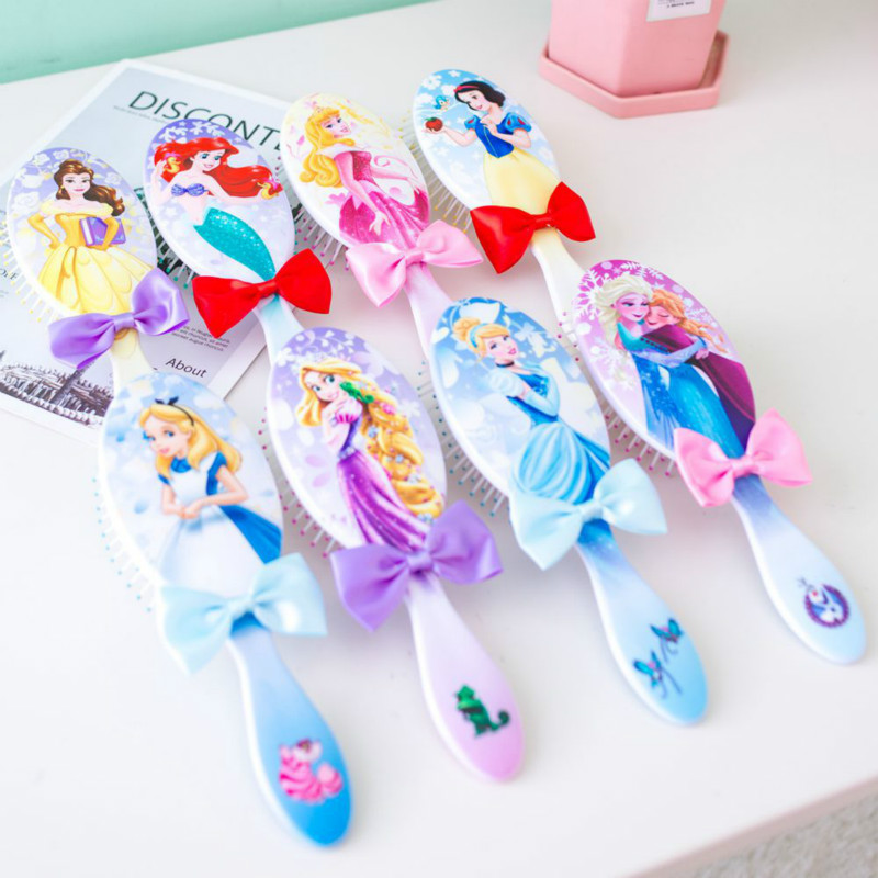 Disney Mickey Frozen Hair Clip Cartoon Air Cushion Comb Hair Anti-static Comb Children Cute Comb Girl Minnie Heart Balloon Comb